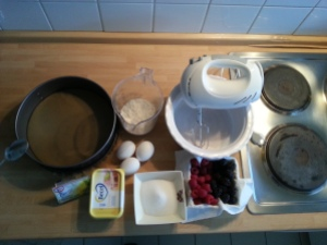 ingrédients gâteau framboises