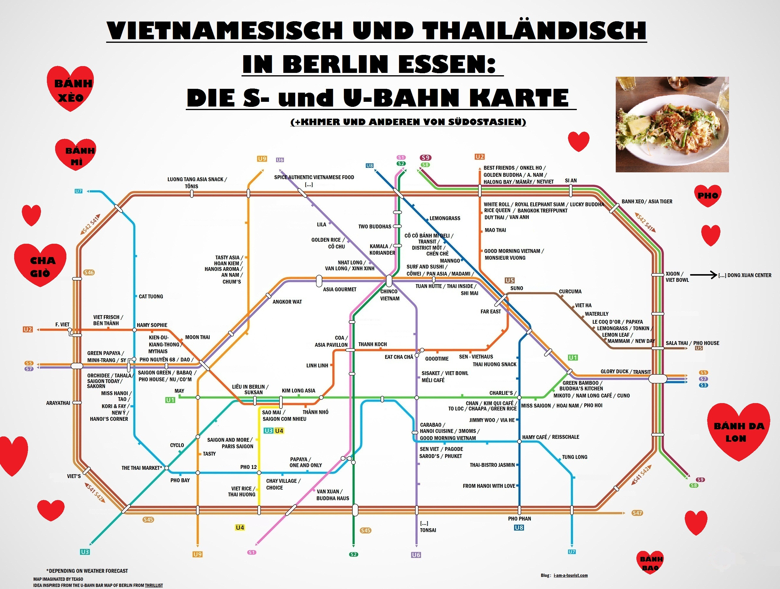 Asian places in Berlin Ubahn map