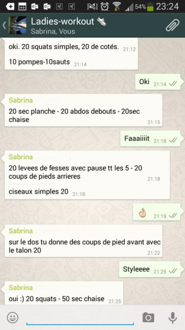 conversation workout whatsapp